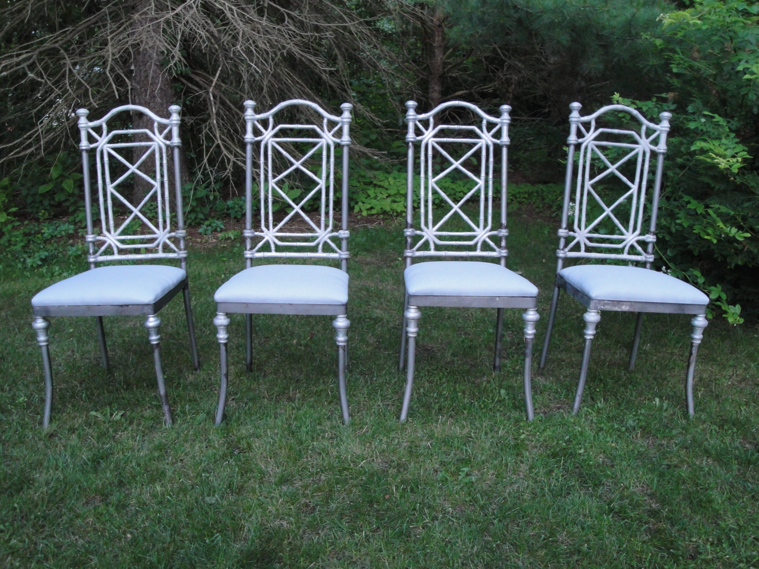 Captivating DSC00380. Set Of Four Vintage Iron And Aluminum Dining Chairs. DSC00347