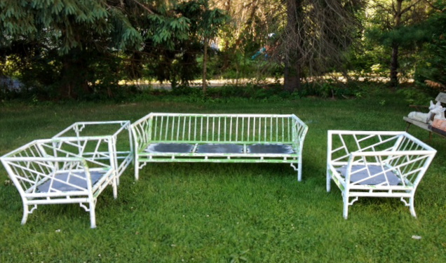 Vintage Meadowcraft Faux Bamboo Sofa, Pair Of Club Chairs And Tiered Table