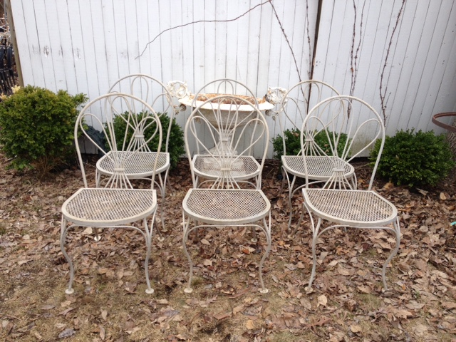 Vintage Wrought Iron Faux Bois Dining Chairs ...