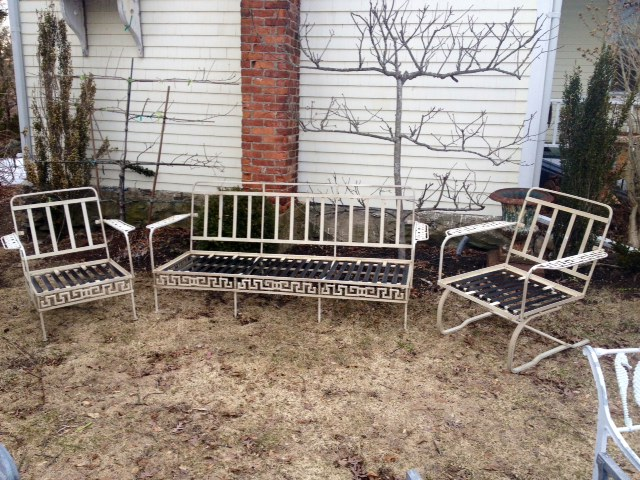 Vintage Aluminum And Iron Greek Key Sofa And Pair Of Club Chairs ...